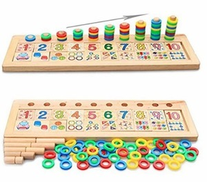 몬테소리 원목 교구  - 배송기간 14~21일(Xin store Montessori Materials Wood Math Blocks Shape Sorter Number and Stacking Learning Toys )